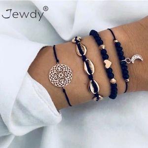 4 Piece Beaded Charm Bracelets